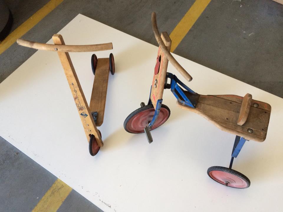 rowerek i hulajnoga z drewna